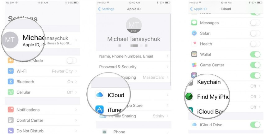 track a cell phone-activate Find My iPhone