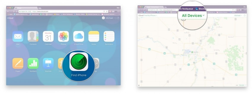 track a cell phone-use Apple's iCloud