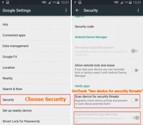 "Track WhatsApp Messages with MaxxSpy-turn off ""Scan device for Security threats"""