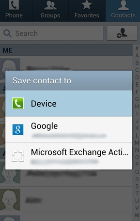 save contact to device
