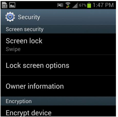 android phone screen security