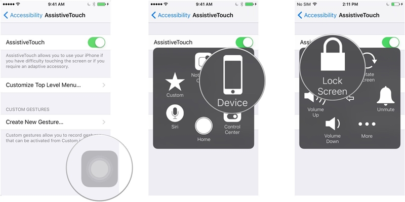 use AssistiveTouch as power button alternative