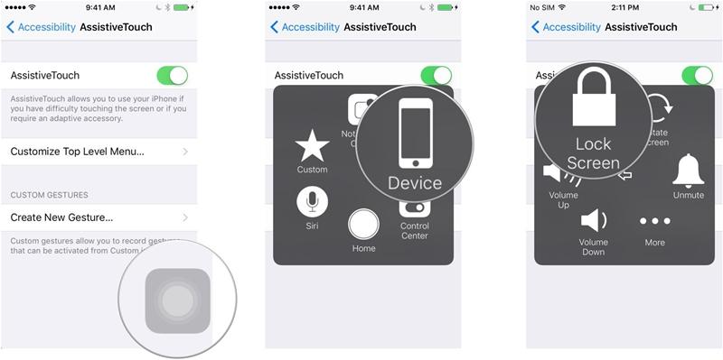 utiliser l'assistance tactile comme alternative au bouton d'alimentation
