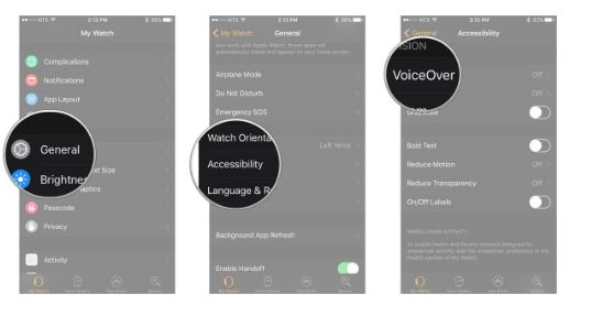 turn off apple watch voice over from iphone