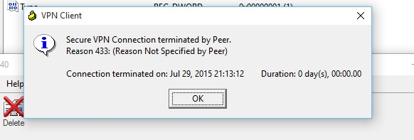 secure VPN connection terminated by peer reason 433
