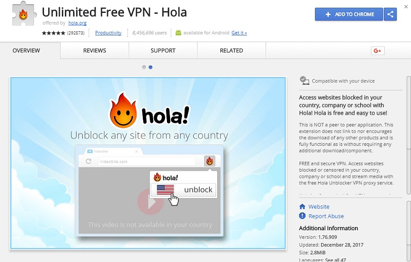 chrome vpn - Hola Unlimited vpn