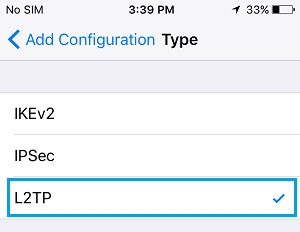 select vpn protocal on iphone