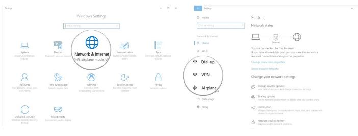 windows 10 network and internet