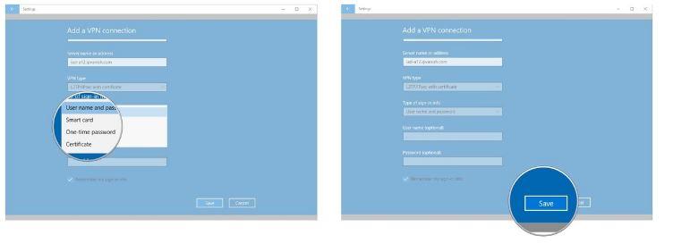save vpn settings on windows 10
