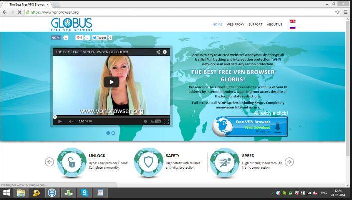Globus Free VPN Browser for windows 10