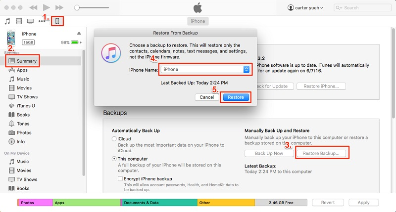 iPhone aus dem iTunes-Backup wiederherstellen