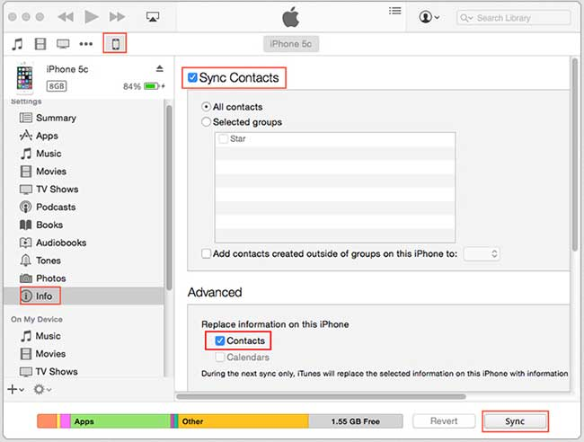 sync contacts with itunes