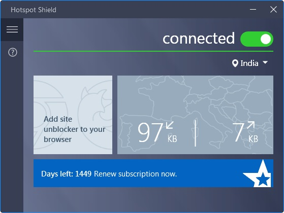 hotspot shield vpn connected