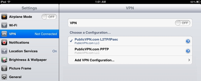 connect to public vpn on ios