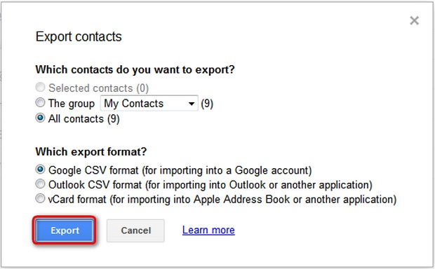 save gmail contacts as vcard file