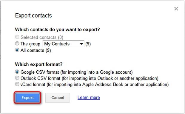gmail kontakte als vcard speichern