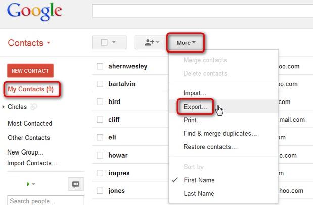 将gmail联系人导出到vcard文件