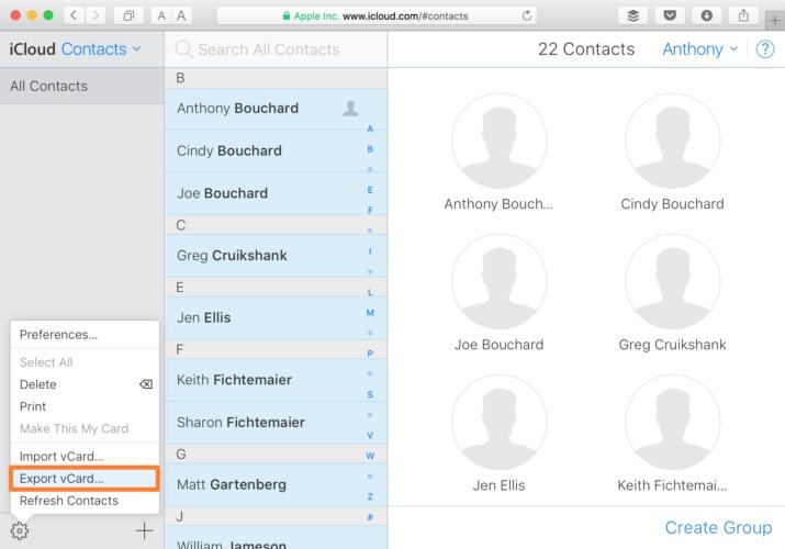 Kontakte auf Mac als vCard-Datei exportieren
