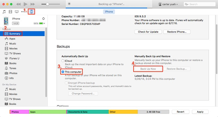 backup iphone messages to itunes