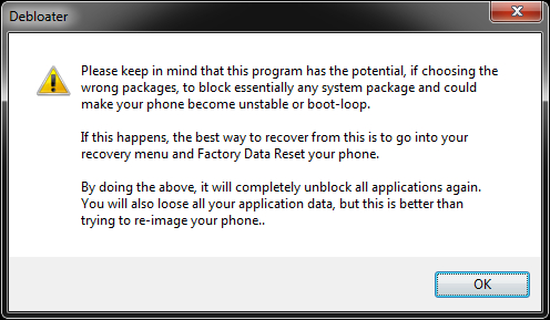 warning message before you delete unwanted apps