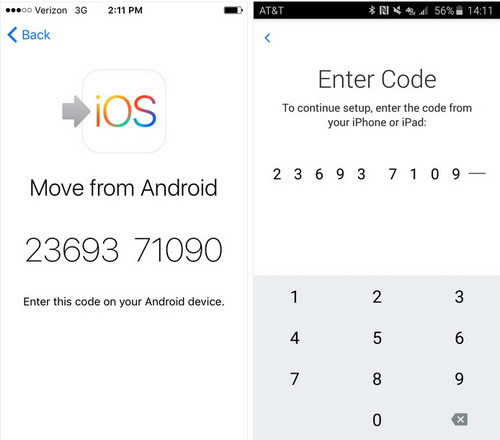 enter code to start moving contacts to ios
