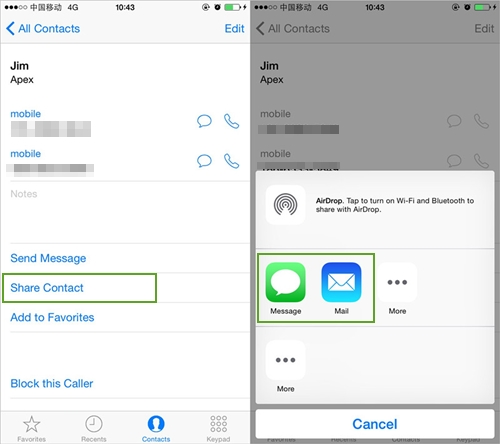 share iphone contacts via contacts app