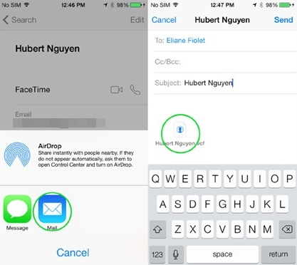 share iphone contacts through message