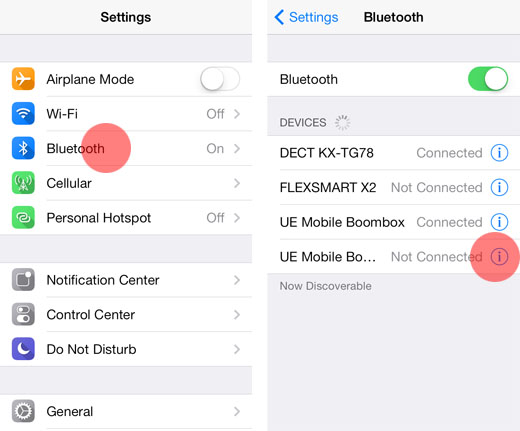 share iphone contacts via bluetooth