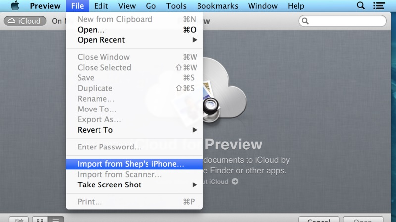 import files from iphone to mac with preview