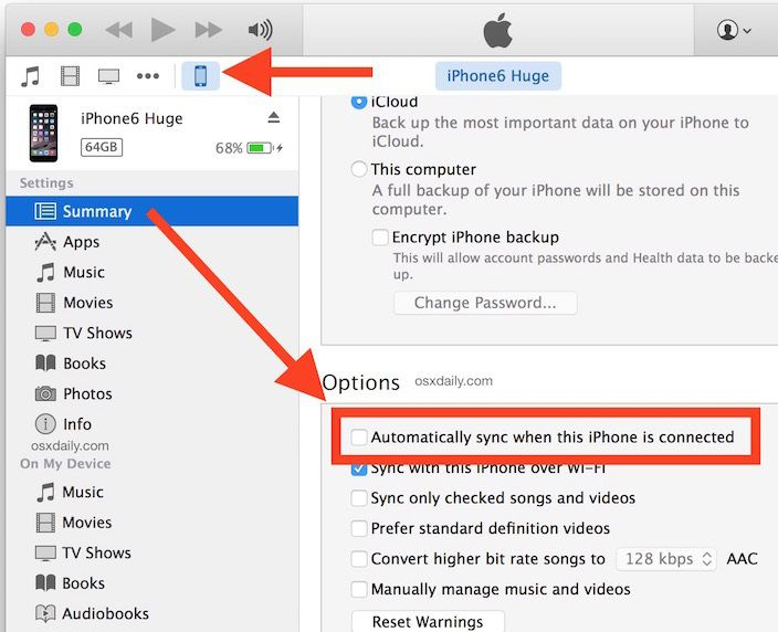 automatically sync ipod music to iphone using itunes
