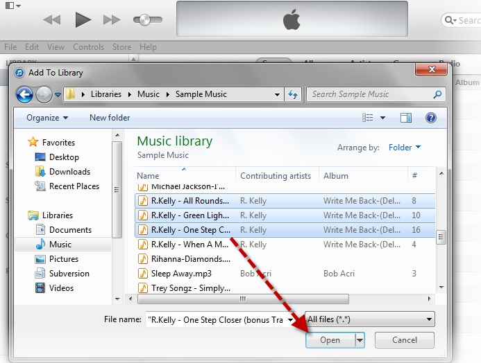 select the music files from laptop