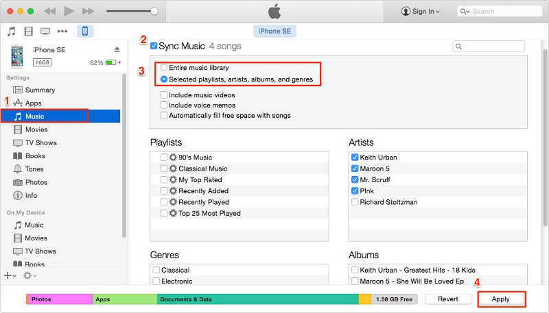 sync music to iphone with itunes