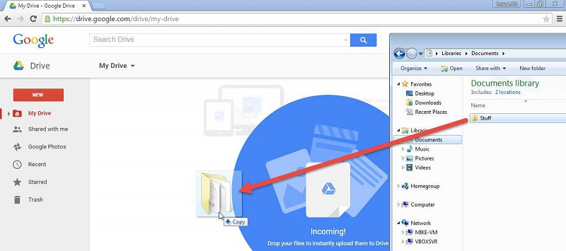 load video files to google drive