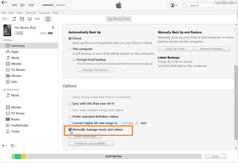 enable manually manage music and video on itunes