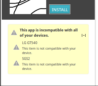 get incompatible apps