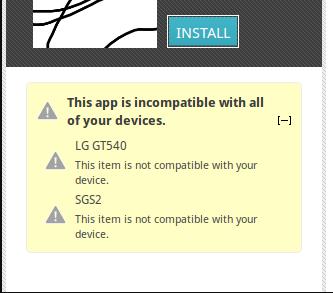installieren inkompatibler Apps