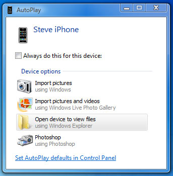 autoplay to import photos from iphone
