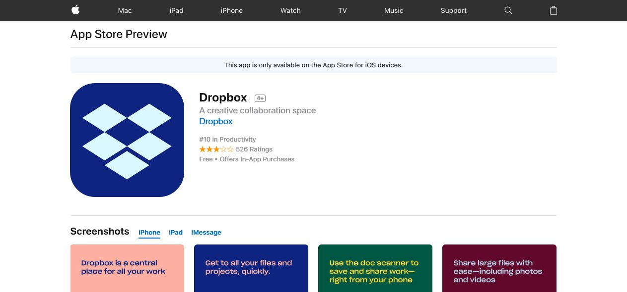 dropbox setup on iphone or ipad