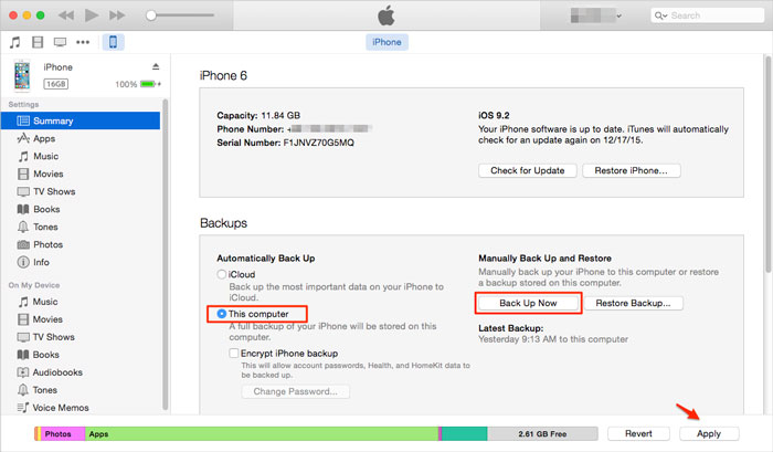 iTunes backup settings