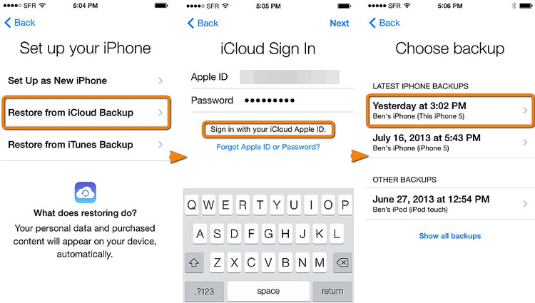 iPhone in icloud wiederherstellen