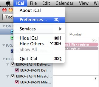 Synchroniser iCal avec iphone - étape 1 pour les préférences système dans iCal
