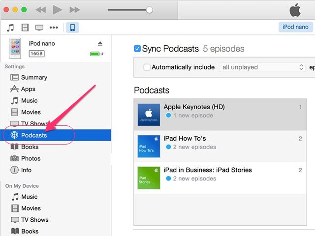 How to put podcasts on ipod-select podcast