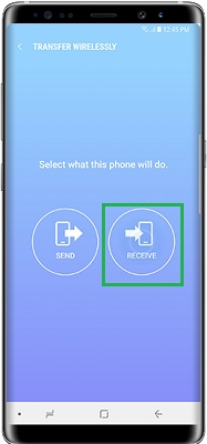 set s9 as the receiving device