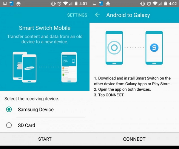 transfer from old samsung to s9 using smart switch