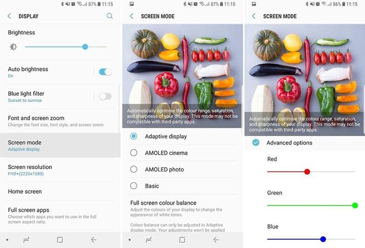 samsung s9 tips - customize screen color balance