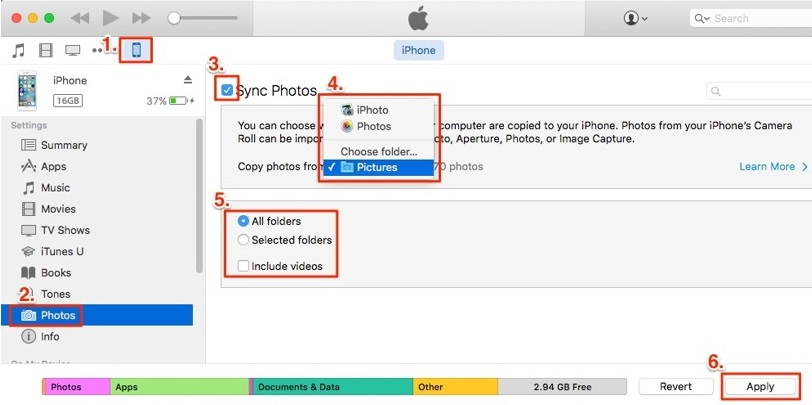 transfer photos from iphone to iphone with itunes