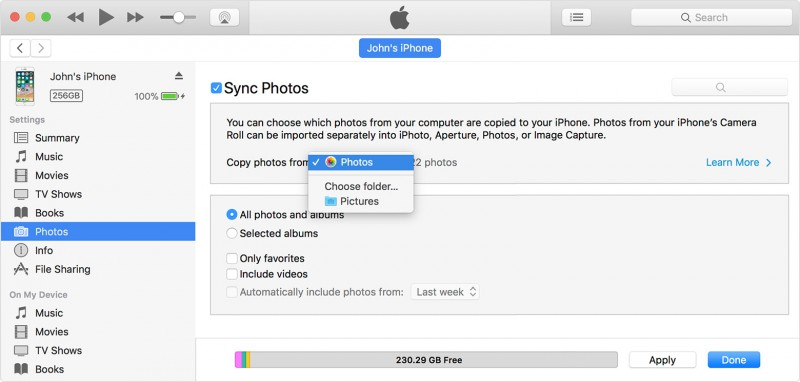 sync photos to iphone via itunes
