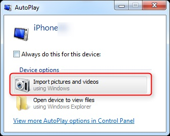 transfer photos from iphone to windows 7