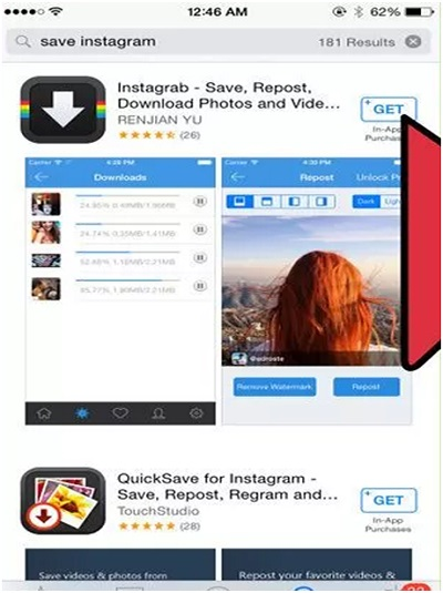 save instagram on android