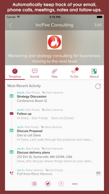 iPhone kontaktmanager-Cloze
